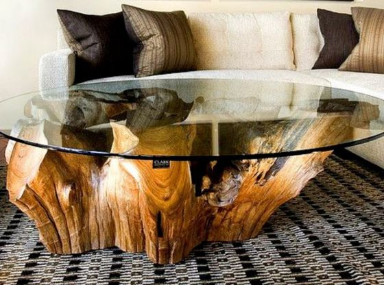 Clasimex.com 99 Table Design Ideas 2017 | Pallet Trunk Log Stone Glass DiY Creative Wood Topics